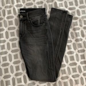 Express Charcoal Mid Rise Stretch Jeans (Size 2R)